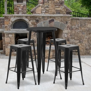 24-inch Round Metal Indoor-Outdoor Bar Table Set with 4 Square Seat Backless Barstools (Black)