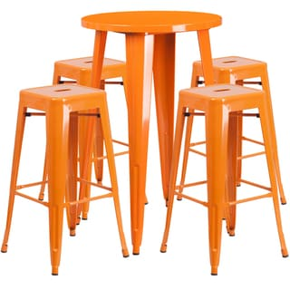24-inch Round Metal Indoor-Outdoor Bar Table Set with 4 Square Seat Backless Barstools (Orange)