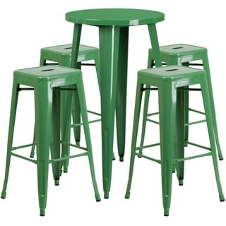 24-inch Round Metal Indoor-Outdoor Bar Table Set with 4 Square Seat Backless Barstools (Green)