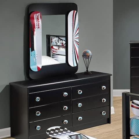 Kickflip Black Pine 6-Drawer Dresser