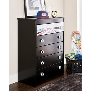 Kickflip Black 5-Drawer Chest