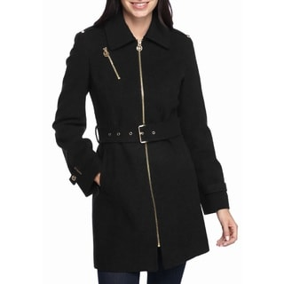 Michael Kors Women's Black Wool Belted Coat