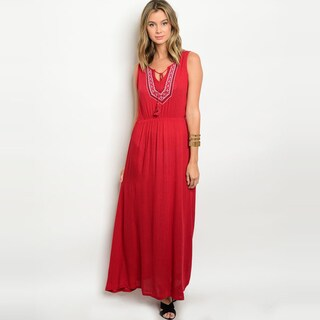 Shop The Trends Women's Sleeveless Maxi Dress With Smock Waist And Tribal Embroidery (Option: Multi)