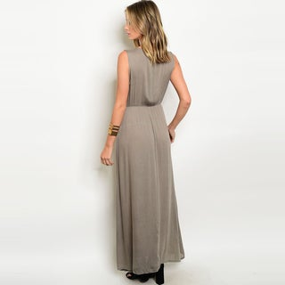 Shop The Trends Women's Sleeveless Maxi Dress With Smock Waist And Tribal Embroidery