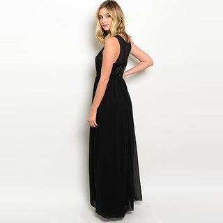 Shop The Trends Women's Sleeveless Satin Gown with Chiffon Skirt