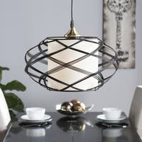 Harper Blvd Avento White/Black Steel Wire Cage Contemporary 1-light Pendant Lamp