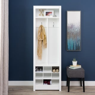 Winslow White Wood Entryway Organizer with Shoe Storage