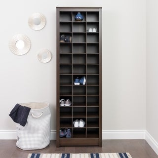 Prepac Everett Espresso Laminate Space-saving Shoe Storage Cabinet