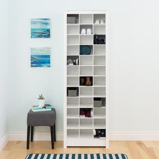 Prepac Winslow Laminate White Space-saving Shoe Storage Cabinet|https://ak1.ostkcdn.com/images/products/13555041/P20232688.jpg?impolicy=medium
