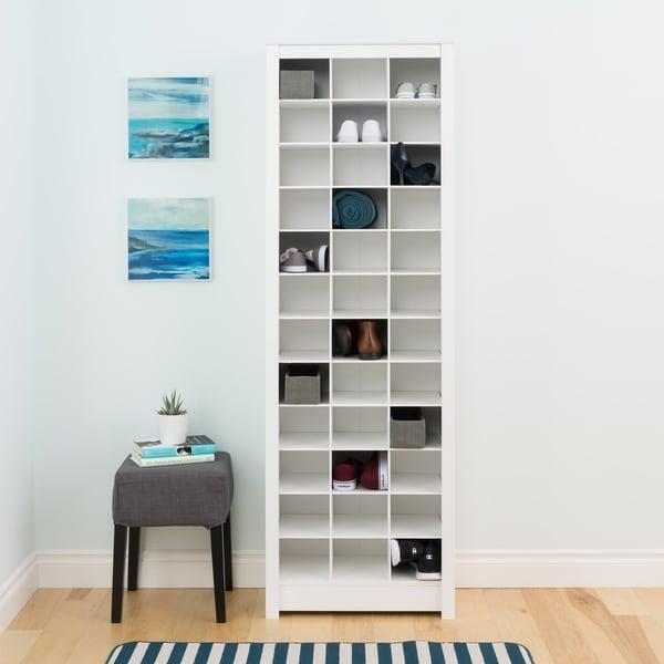 Prepac Winslow Laminate White Space Saving Shoe Storage Cabinet