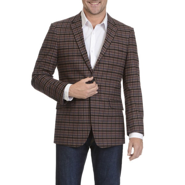U.S. Polo Association Mens Brown Plaid Cotton and Polyester Sport Coat