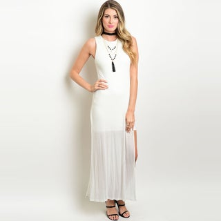 Shop The Trends Women's Ivory Rayon Side Slit Sleeveless Maxi Dress