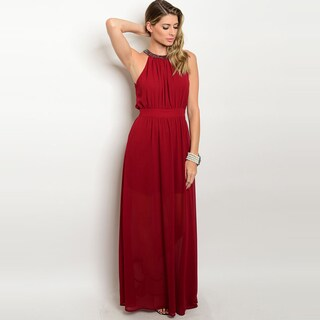 Shop The Trends Women's Wine Polyester Sleeveless Chiffon Maxi Gown With Beaded Neckline