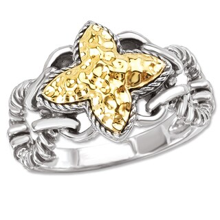 Avanti Sterling Silver and 18K Yellow Gold Hammered Clover Design Ring (2 options available)