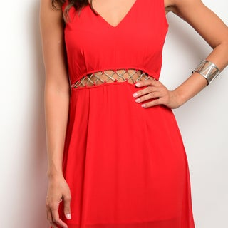 Shop the Trends Women's Red Polyester Sleeveless Chiffon Maxi Dress With Exposed Waist Detail
