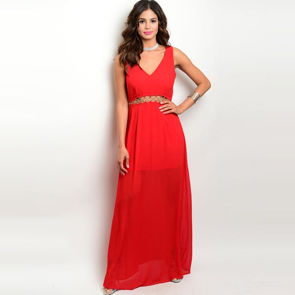 Shop the Trends Women  x27 s Red Polyester Sleeveless Chiffon Maxi Dress  With Exposed ab1d11a664