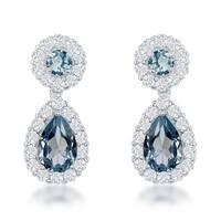 La Preciosa Sterling Silver Cubic Zirconia and Topaz Teardrop Earrings