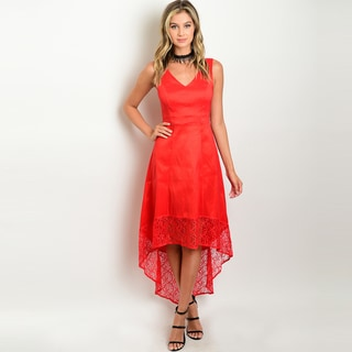 Shop The Trends Women's Red Polyester Sleeveless High-low Lace V-neck Dress