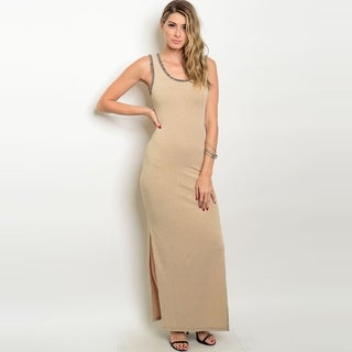 Shop The Trends Women's Taupe Polyester Blend Beaded Neckline Sleeveless Maxi Gown