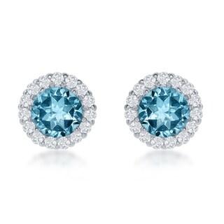 La Preciosa Sterling Silver Gemstone and White Topaz Circle Stud Earrings