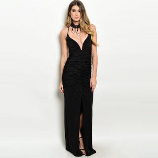 Shop The Trends Women's Black Polyester Blend Spaghetti Strap Bodycon Gown with V-neckline