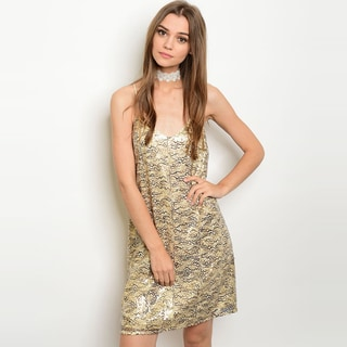 Shop the Trends Women's Polyester Mint Spaghetti Strap Sequined Shift Dress With Round Neckline