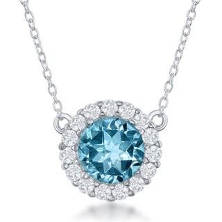 La Preciosa Sterling-silver Gemstone and White Topaz Circle Pendant