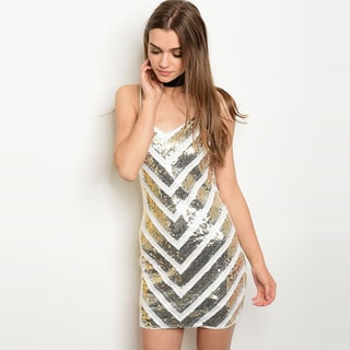 Shop the Trends Women's Spaghetti Strap Sequined Bodycon Dress With Round Neckline