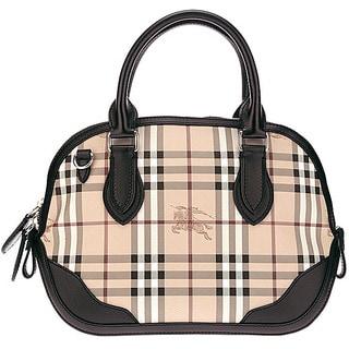 Burberry Orchard Haymarket-check Leather-trim Small Satchel Handbag