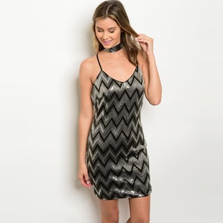 Shop The Trends Women's Taupe Polyester Chevron-print Spaghetti-strap Sequined Bodycon Dress