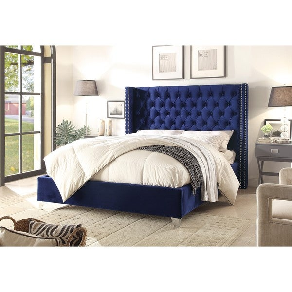 Shop Aiden Navy Velvet Bed Free Shipping Today