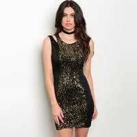 Shop The Trends Women's Black/Gold Cotton/Polyester/Spandex Sleeveless Bodycon Dress With Sequined Front