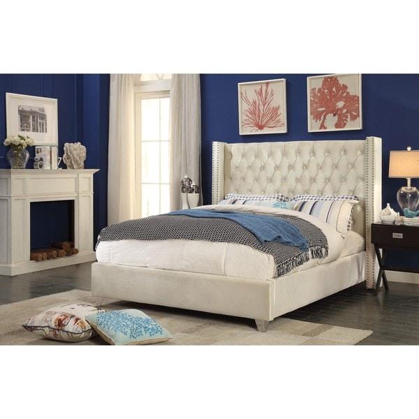 Aiden Cream Velvet Bed by Meridian