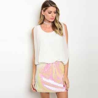 Shop The Trends Women's Sleeveless Blouson-top Sequined-skirt Dress