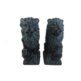 Firefly Black, Blue Ceramic Lions (Set of 2)