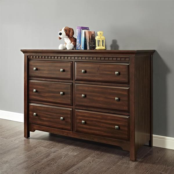 Dorel Living Auburn Dark Chestnut Double Dresser