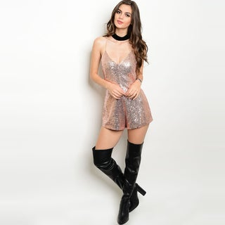Shop the Trends Women's Spaghetti Strap Sequins Romper With Plunging Neckline