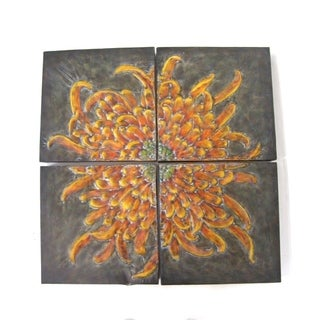 Metal 4-panel Flower Wall Art