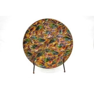 Fall Leaf Foliage Multicolored Metal Charger with Stand