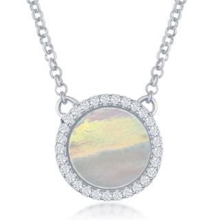 La Preciosa Sterling Silver Mother of Pearl and Cubic Zirconia Circle Necklace