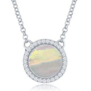 La Preciosa Sterling Silver Mother of Pearl and Cubic Zirconia Circle Necklace