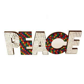 FireFly 'Peace' Multicolored Glass Mosaic Decorative Letters