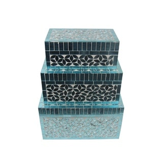 FireFly Rectangular Turquoise Mosaic Jewelry Box (Set of 3)