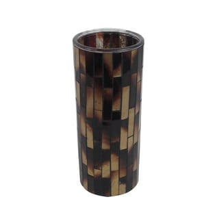 FireFly Brown Glass Mosaic Vase