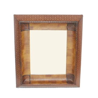 FireFly Gold-tone and Brown Leather and Wood 32.5-inch x 28.5-inch Mirror