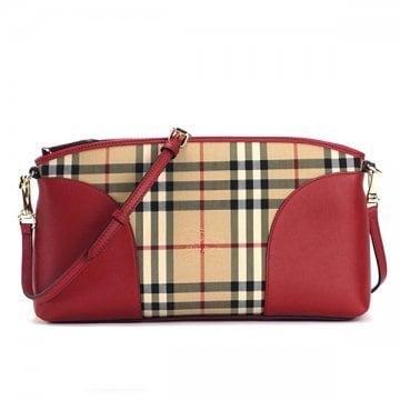 65e82526a958 Shop Burberry Horseferry Red Check Canvas and Leather Crossbody Handbag -  Free Shipping Today - Overstock.com - 13558695