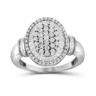 Jewelonfire 10k White or Yellow Gold 1ct TDW White Diamond Cluster Ring (I-J, I2-I3)