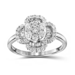 Jewelonfire 10k White or Yellow Gold 1ct TDW White Diamond Clover Ring (I-J, I2-I3)