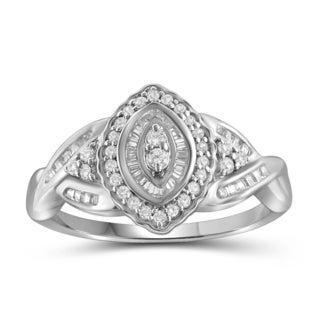 Jewelonfire 10k White or Yellow Gold 1/2ct TDW White Diamond Marquise Ring (I-J, I2-I3)
