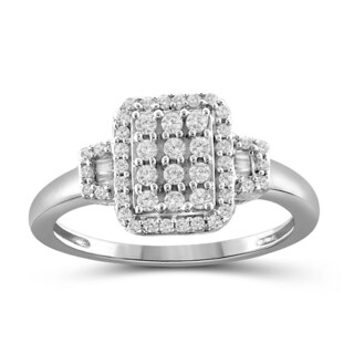 Jewelonfire 10k White or Yellow Gold 1/2ct TDW White Diamond Ring (I-J, I2-I3) (More options available)